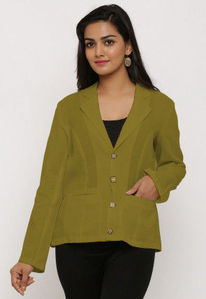 Solid Color Cotton Jacket in Olive Green