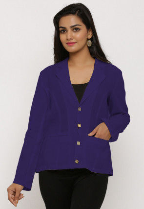 Solid Color Cotton Jacket in Purple