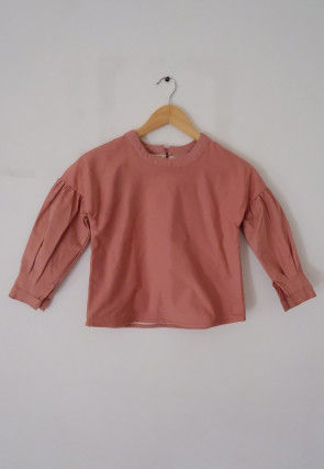 Solid Color Cotton Kids Crop Top in Dusty Peach