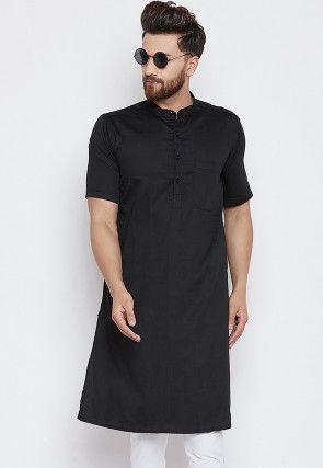 Solid Color Cotton Kurta in Black