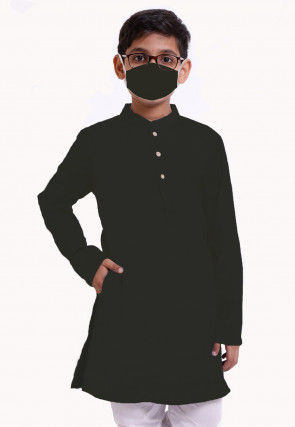 Solid Color Cotton Kurta in Black
