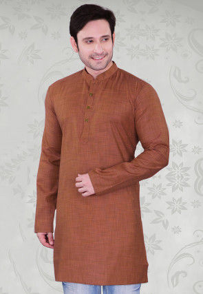 Solid Color Cotton Kurta in Brown