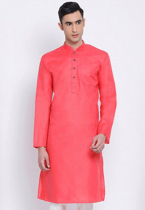 Solid Color Cotton Kurta in Coral Pink