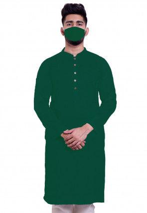 Solid Color Cotton Kurta in Dark Green
