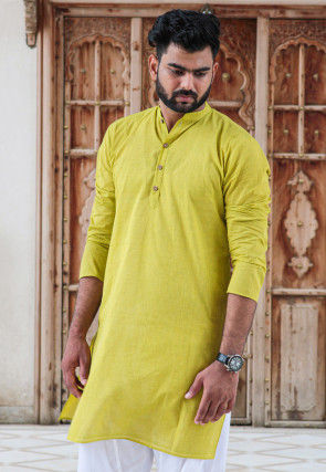 Solid Color Cotton Kurta in Light Green