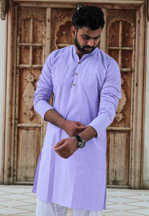 Solid Color Cotton Kurta in Light Purple