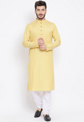 Solid Color Cotton Kurta in Light Yellow