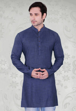 Solid Color Cotton Kurta in Navy Blue