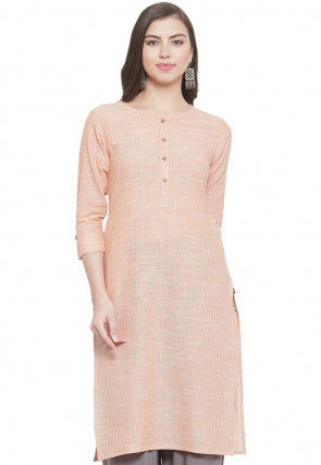 Solid Color Cotton Kurta in Old Rose