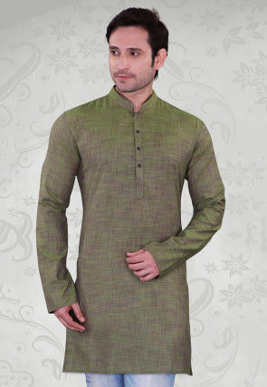 Solid Color Cotton Kurta in Olive Green