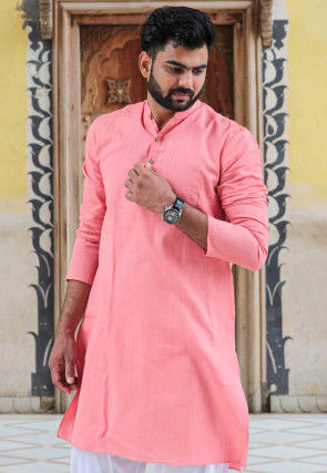 Solid Color Cotton Kurta in Peach