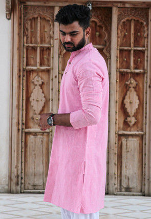Solid Color Cotton Kurta in Pink