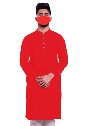 Solid Color Cotton Kurta in Red