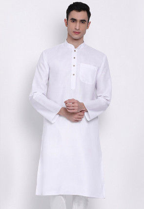 Solid Color Cotton Kurta in White