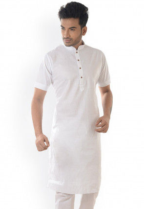 Solid Color Cotton Kurta in White