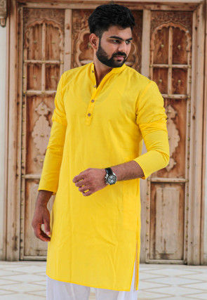 Solid Color Cotton Kurta in Yellow