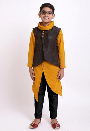 Solid Color Cotton Kurta Jacket Set in Mustard and Brown