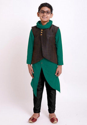 Solid Color Cotton Kurta Jacket Set in Teal Green and Brown