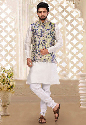 Solid Color Art Silk Kurta Jacket Set in White and Multicolor