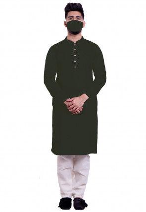 Solid Color Cotton Kurta Set in Black