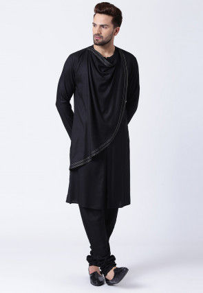 Solid Color Cotton Kurta Set in Black