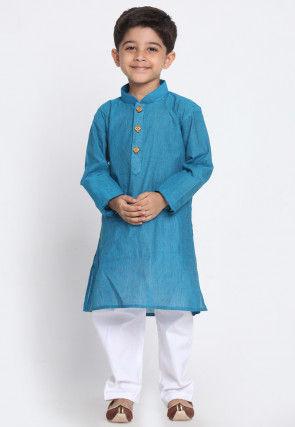 Solid Color Cotton Kurta Set in Blue