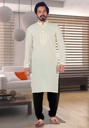 Solid Color Cotton Kurta Set in Cream