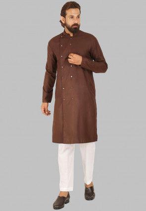 Solid Color Cotton Kurta Set in Dark Brown