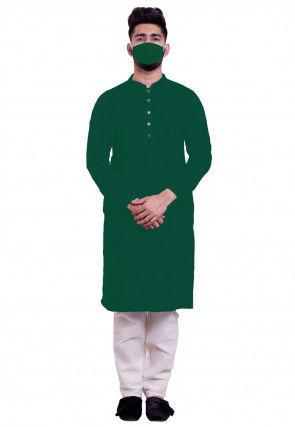 Solid Color Cotton Kurta Set in Dark Green