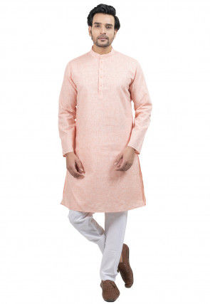 Solid Color Cotton Kurta Set in Light Pink