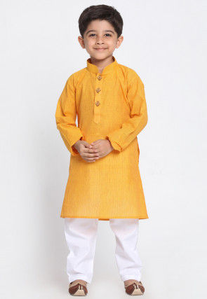 Solid Color Cotton Kurta Set in Mustard
