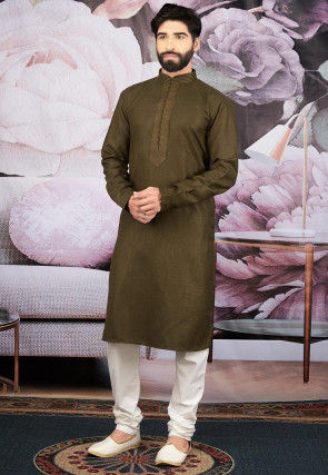 Solid Color Cotton Kurta Set in Olive Green