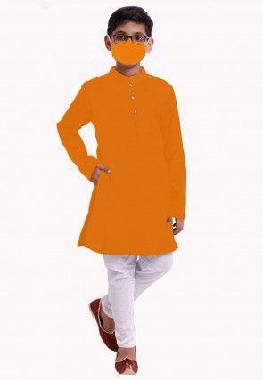 Solid Color Cotton Kurta Set in Orange