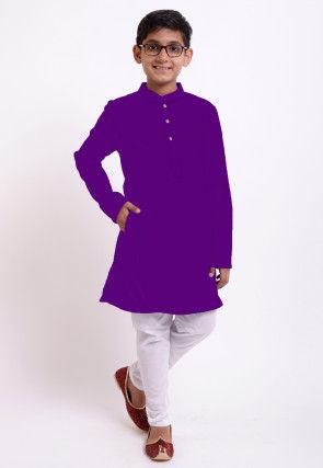 Solid Color Cotton Kurta Set in Purple