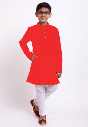 Solid Color Cotton Kurta Set in Red