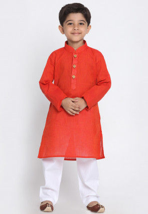 Solid Color Cotton Kurta Set in Rust
