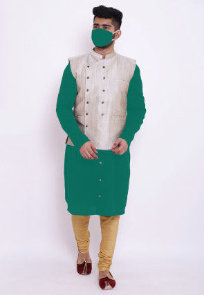 Solid Color Cotton Kurta Set in Teal Green