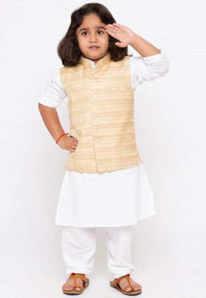 Solid Color Cotton Kurta Set in White and Beige