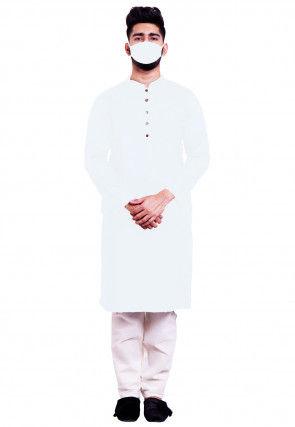 Solid Color Cotton Kurta Set in White
