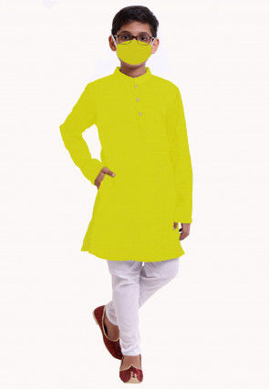 Solid Color Cotton Kurta Set in Yellow