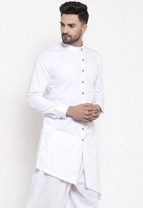 Solid Color Cotton Kurta White