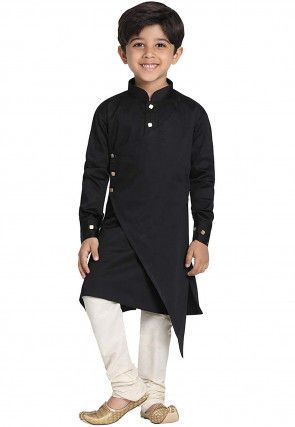 Solid Color Cotton Layered Asymmetric Kurta Set in Black