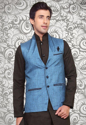 Solid Color Cotton Linen Jacket in Blue