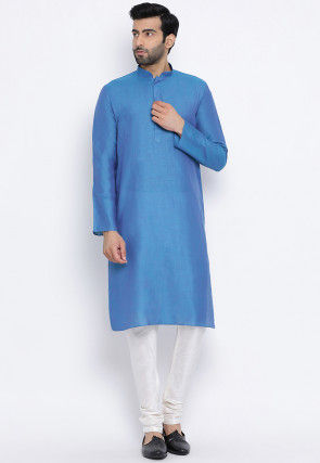 Solid Color Cotton Linen Kurta in Blue