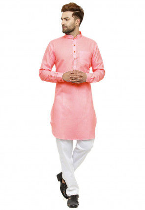 Solid Color Cotton Linen Kurta in Light Pink