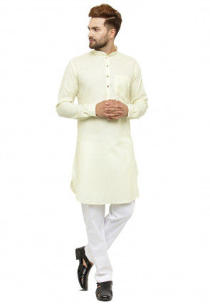Solid Color Cotton Linen Kurta in Light Yellow