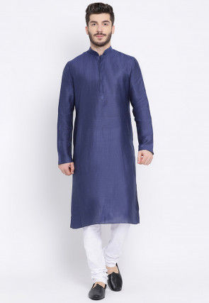 Solid Color Cotton Linen Kurta in Navy Blue