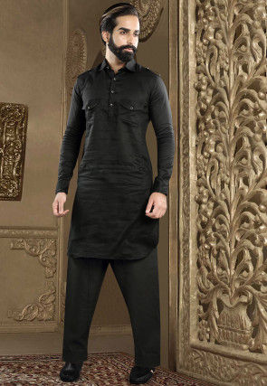 Solid Color Cotton Linen Pathani Suit in Black