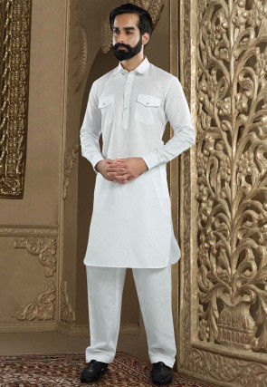 Solid Color Cotton Linen Pathani Suit in Off White