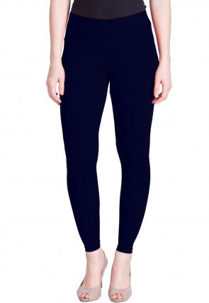 Solid Color Cotton Lycra Ankle Length Leggings in Dark Blue